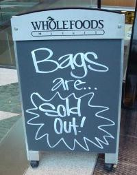 "Whole Foods sells out of Anya Hindmarch ""I'm Not a Plastic Bag"". Photo credit: Melissa Rosenberg"