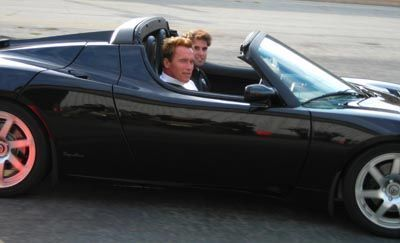 Gov. Arnold Schwarzenegger in the Tesla Roadster