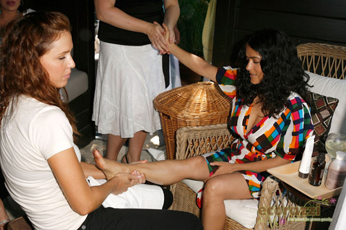 Actress Salma Hayek getting pampered at the Jurlique Biodynamic BBQ