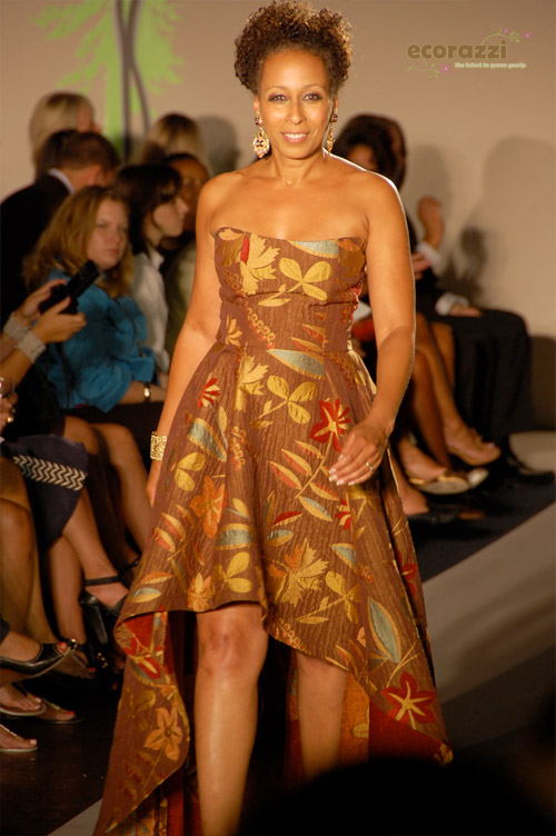 Tamara Tunie modeling on the runway at the 2008 Be Eco Chic Launch Party -- Photo credit: Melissa Rosenberg