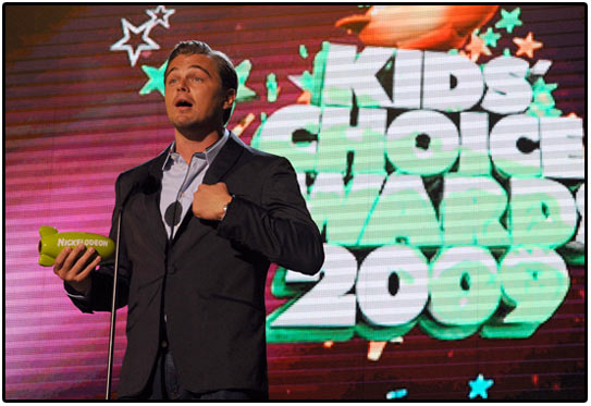 leonardo dicaprio, kids' choice awards, green, eco, nickelodeon