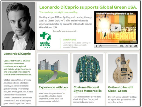 leonardo dicaprio, auction, global green usa