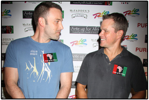 ben affleck, matt damon, ante up for africa, vegas, charity