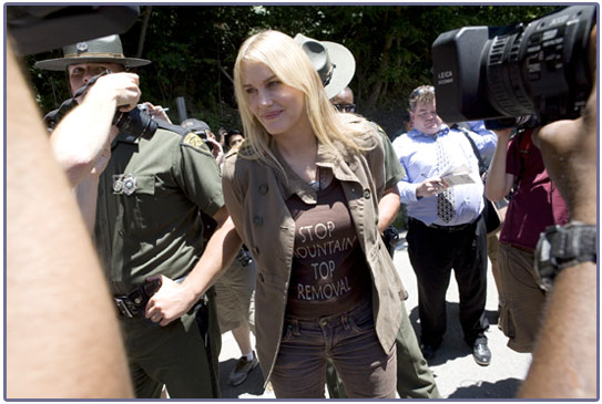 daryl hannah, coal, mountaintop removal