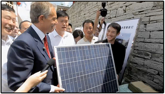 tony blair, jet li, solar energy, environment, eco, china