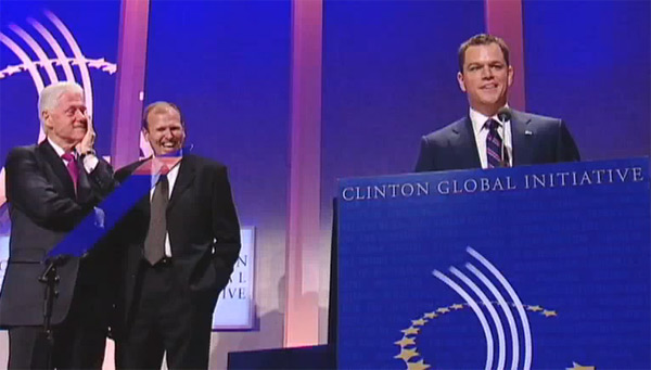 matt damon, clinton global initiative, water.org, clean water, haiti