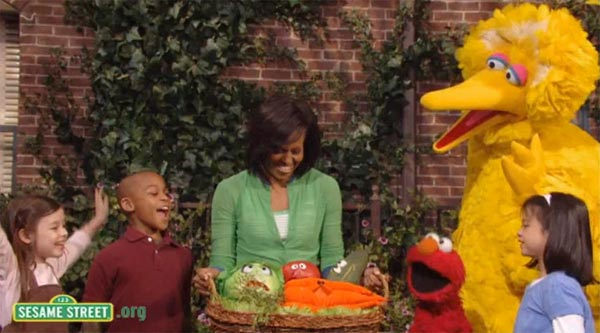 michelle obama, gardening, organic, eco, seasame street