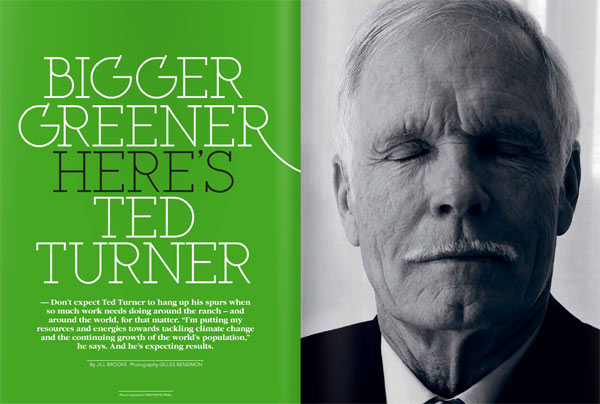 ted turner, green, above magazine