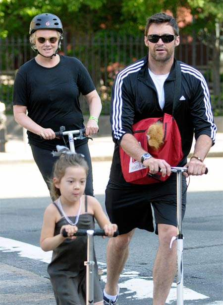hugh jackman family scooter