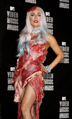 lady gaga, raw meat dress