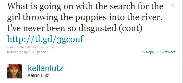kellan lutz, twitter, puppy-throwing girl