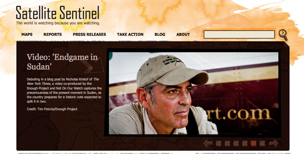 george clooney, satellite sentinel project, not on our watch, google, souther sudan, sudan, actor, activism, celebrity