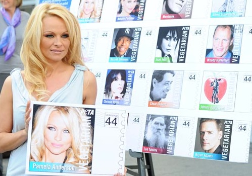 PETA Goes Postal: Bob Barker and Pamela Anderson Unveil Vegetarian Icons Postage Sheet