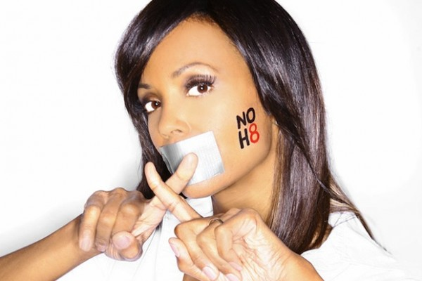 Aisha Tyler poses for a NOH8 campaign in support of gay rights.