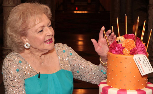 Betty White celebrating her 90th birthday
