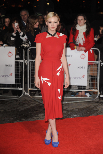 carey mulligan at film critics circle awards on red carpet in recycled dress