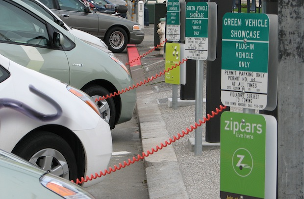 Georgia Street in Indianapolis has two electric vehicle charging stations.