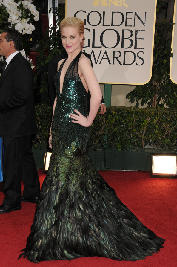 Evan Rachel Wood wears Gucci at the 2012 Golden Globe Awards