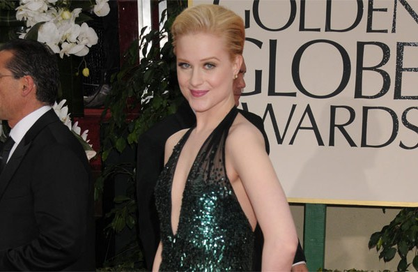 Evan Rachel Woods in a feathery Gucci gown