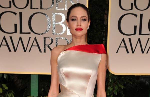 Angelina Jolie wearing Versace at the 2012 Golden Globes