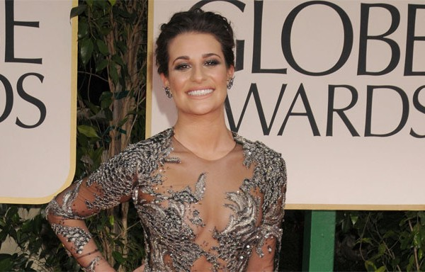 Lea Michele on the Golden Globes Red Carpet in Marchesa