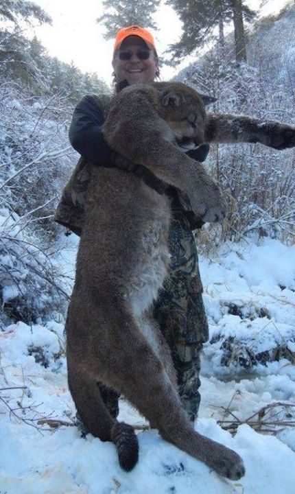 dan richards poses with dead mountain lion that he hunted and killed in idaho