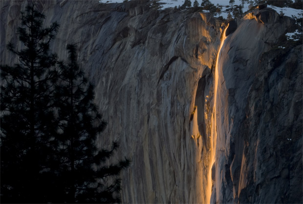 The glowing water of Horsetail Falls, Yosemite