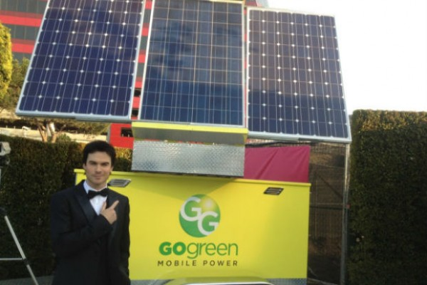 Ian Somerhalder supports GoGreen Mobile Power generator at Elton John's Oscar party