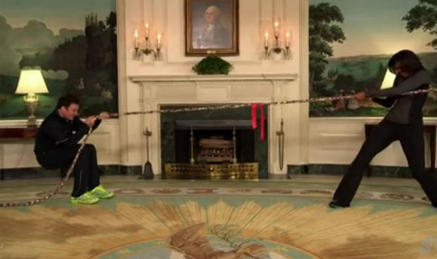 Jimmy Fallon and Michelle Obama compete in physical challenge for Let's Move initiative