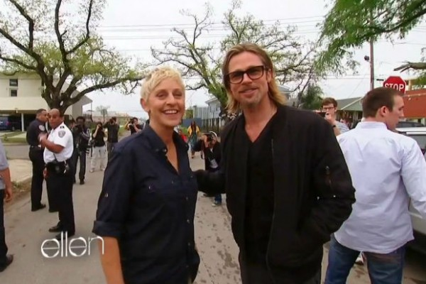 Ellen DeGeneres and Brad Pitt tour the Lower Ninth Ward in New Orleans