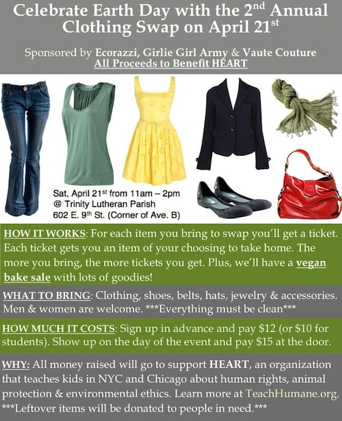 charity clothing swap on april 21st in nyc