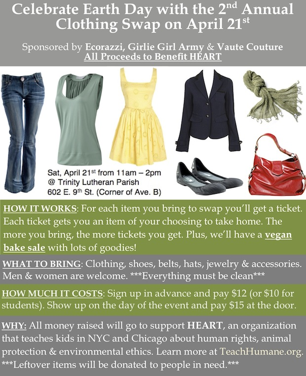Charity Clothing Swap in NYC on April 21 2012