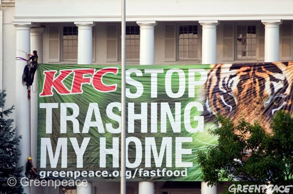 Greenpeace Banner against KFC