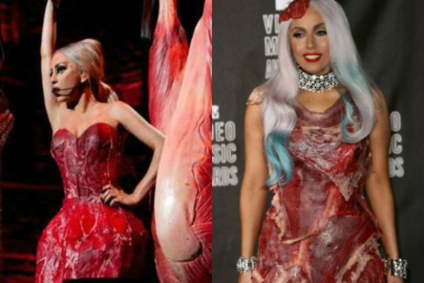 Lady Gaga wears new meat dress that may be made from fabric