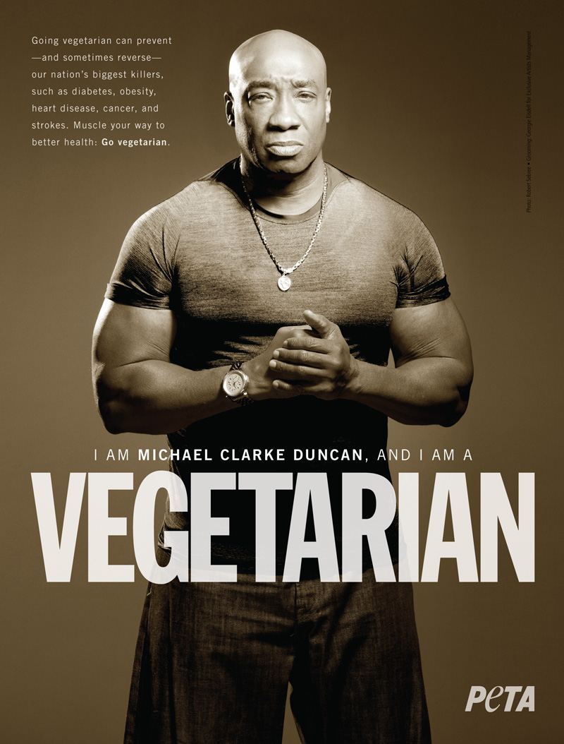 michael clark duncan vegetarian ad for peta