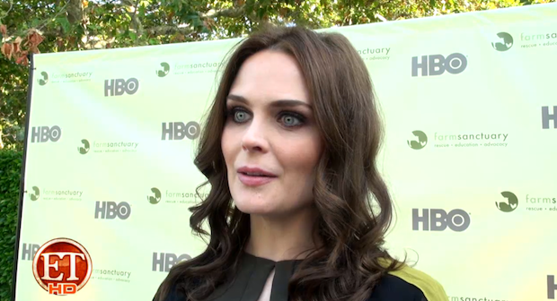 Emily Deschanel supports the education and adoption Farm Sanctuary provides to farm animals.