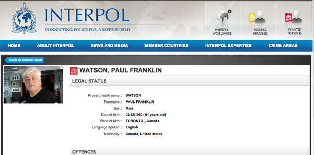 Paul Watson placed on Interpol's Red Notice