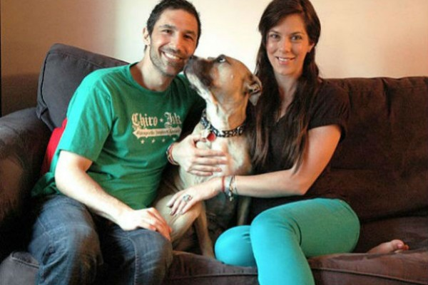 Ethan Zohn and Jenna Morasca rescue pit bull/mastiff mix