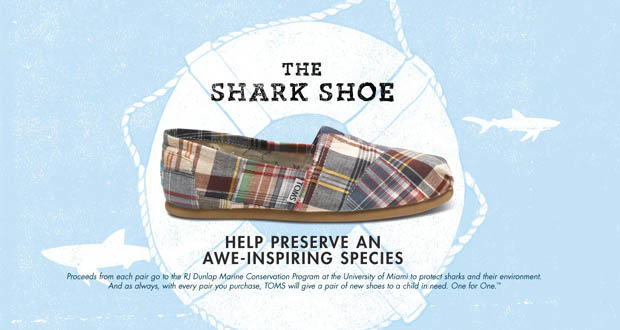 TOMS launches shoes to protect sharks.