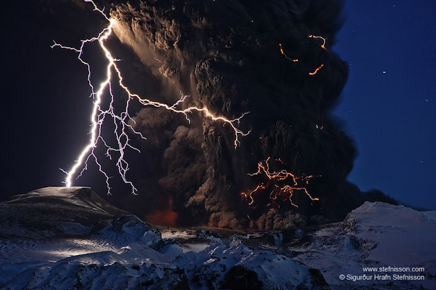 volcano and lightning