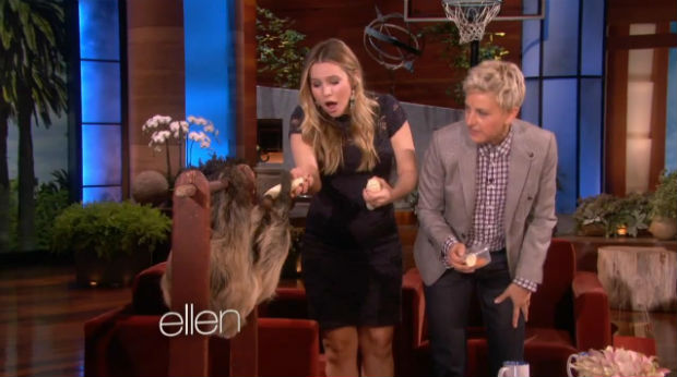 Ellen DeGeneres surprises Kristen Bell with sloth named Lola