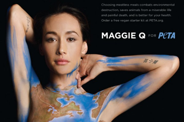 Maggie Q goes naked for PETA and climate change
