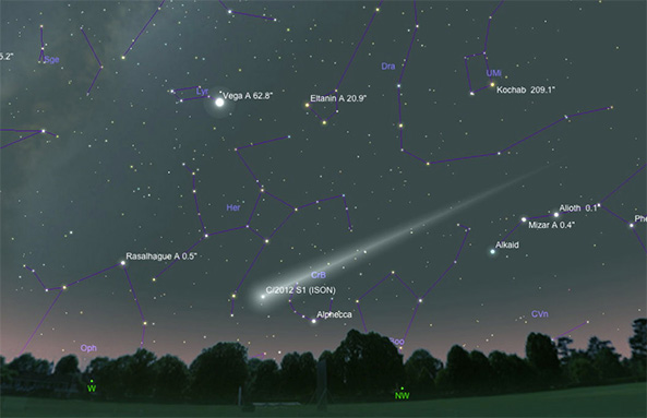 Comet ISON in the night sky