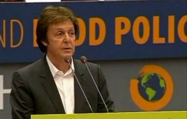 Paul McCartney speaks before the European Parliament about Meatless Mondays and global warming