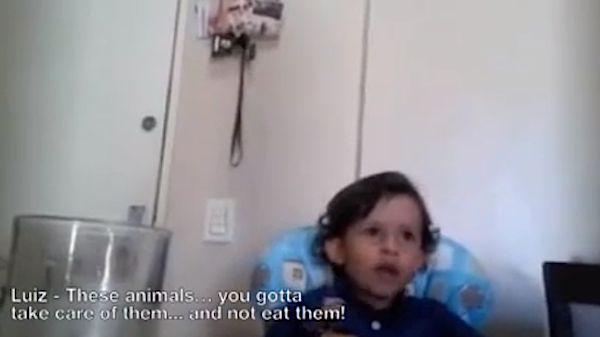 An Italian toddler explains to his mom that he doesn't like eating animals because they have to die.