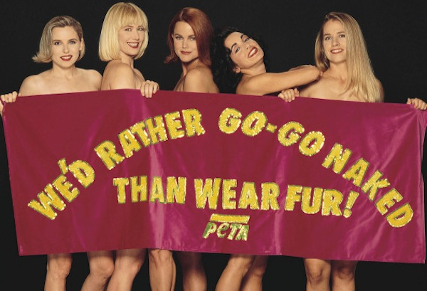 "The Go-Go's were the first stars to pose for PETA's ""Rather Go Naked Than Wear Fur"" campaign."