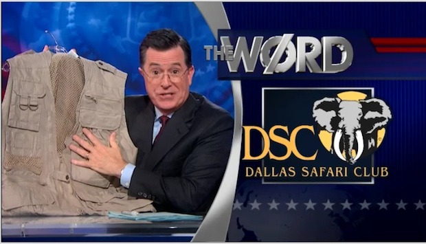 Stephen Colbert takes on Dallas Safari Club's plans to save the rhinos with a chance to kill a rhino