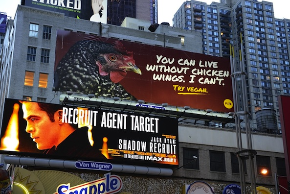 PETA advocates for veganism via billboard in Times Square.
