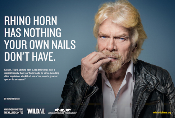 With rhino poaching at an all-time high, Sir Richard Branson is speaking out against the sale of rhino horn — by chewing on his own fingernails.